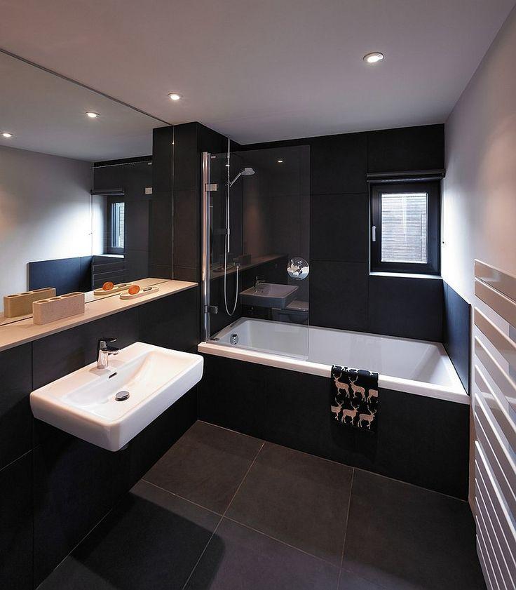 Bathroom Dark White Wall Long Mirror Wastafel Shower Glass Window Tile Floor Lamps