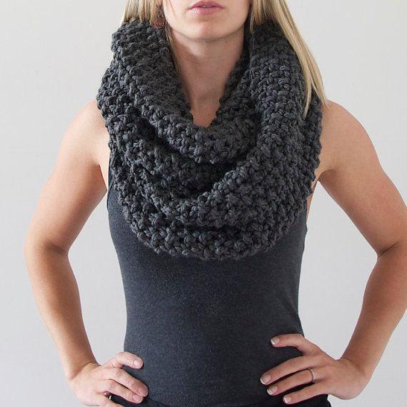 Chunky Knit Infinity Scarf in Charcoal Grey by AnahareoSeasonal