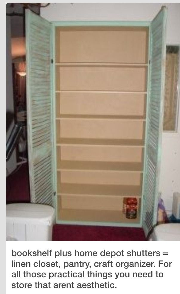 Diy Pantry Storage Cabinet Using A Book Shelf And Shutters Craftiness Pinterest Art