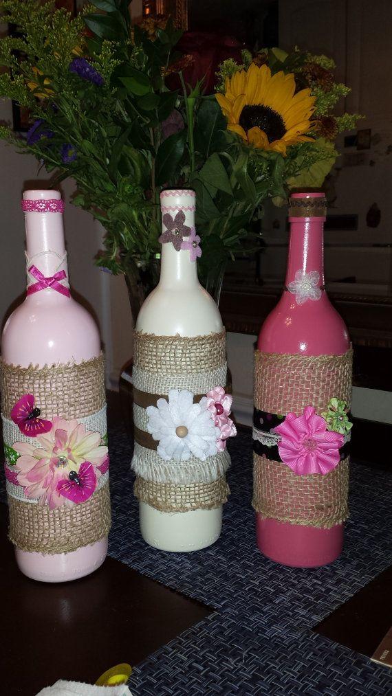 Pink Hues Shabby Chic Decorative Wine Bottles - Set of 3 on Etsy, $45.00                                                                                                                                                                                 Mais