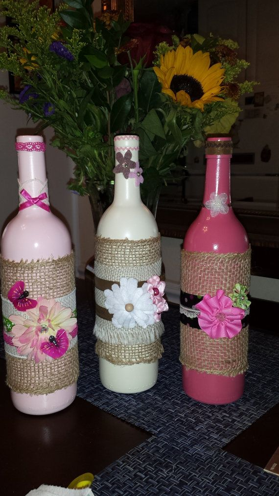 Pink Hues Shabby Chic Decorative Wine Bottles - Set of 3 on Etsy, $45.00