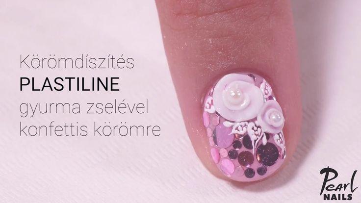 Körömdíszítés PLASTILINE gyurma zselével konfettis körömre /Nailart with Plastiline color gel. #pearlnails #plastiline #gyurmazselé #naildesign