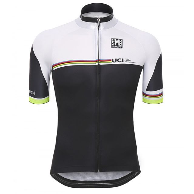 The #RainbowJersey, with a twist. Another #CyclingJersy designed by @SantiniSMS, in collaboration with UCI, and inspired by the white one that the World Champion puts on after his victory.   _________________________________    #TheCyclingJerseys | #CyclingJerseys | #CyclingKit | #CyclingKits | #BikeKit | #BikeKits | #RoadCycling | #Cycling | #CyclingStyle | #TeamKit |  #LeTour | #Giro | #LaVuelta | #UCI | #UCIWorldChampionships