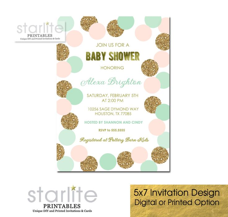 Perfect color combination with this attractive and Blush Pink Mint and Gold Baby Shower Invitation featuring blush pink, mint green and simulated gold glitter polka dots and simulated gold foil CHOICE OF DIGITAL FILE (you print option) OR PRINTED PACKAGE, $20