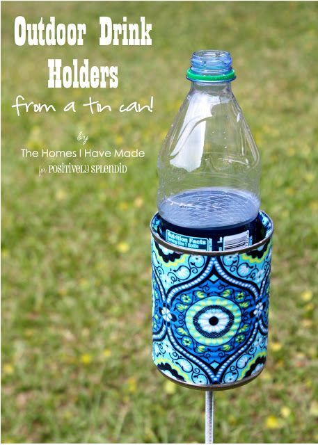 Repurpose old soup or vegetable cans into clever outdoor drink holders...perfect for camping or the beach!