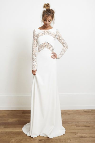 "Robe de mariée en crêpe de soie et guipure - Robe: ""Olsen"", Rime Arodaky collection 2014 #bridaldress #bohemianbride #weddingdress"