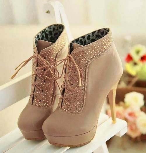 Beige High-heels Shoes With Rhinestones