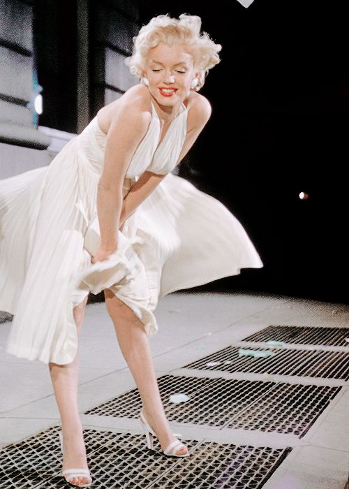 Marilyn Monroe photographed on the set of The Seven Year Itch (1955).: