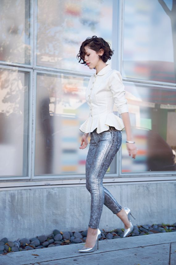 metallic jeans and peplum jacket | Karlas Closet