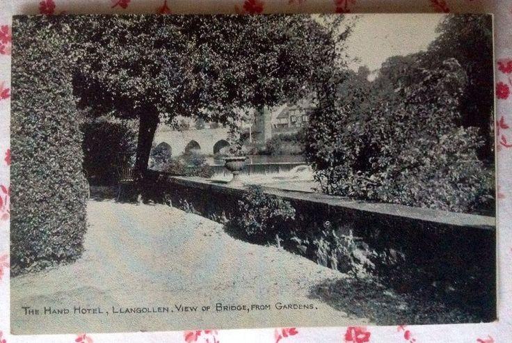 Vtg B&W Postcard The Hand Hotel, Llangollen, View of Bridge, From Gardens Wales