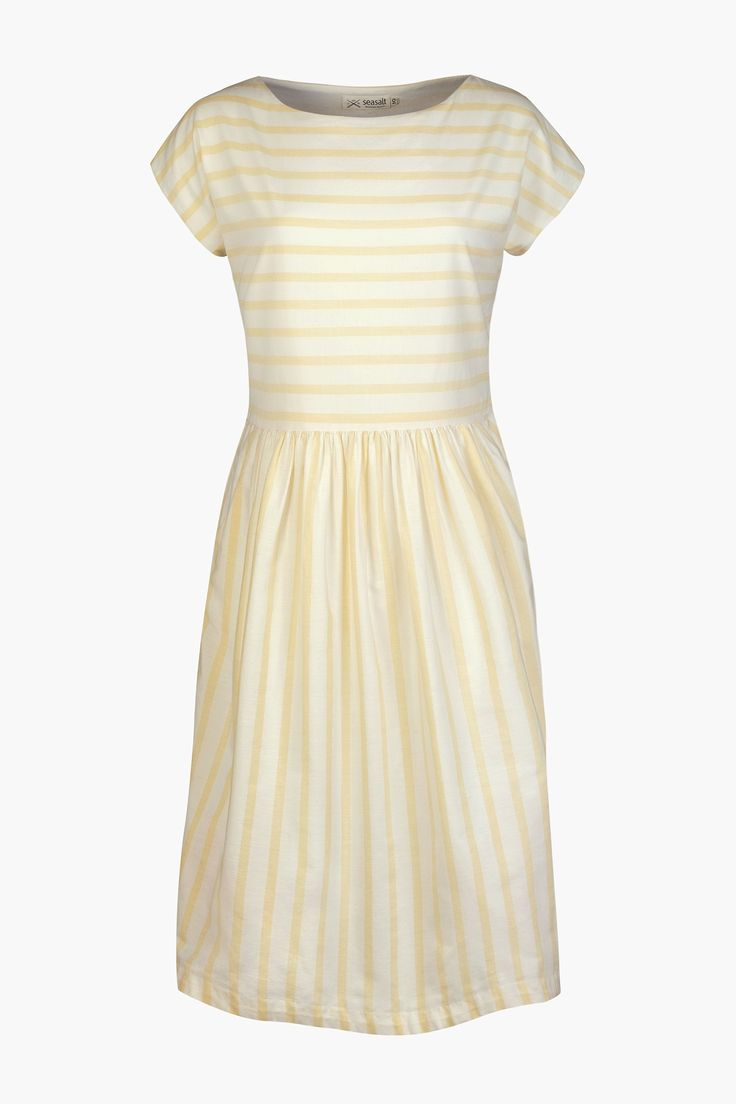 The perfect dress for a summer's day. Our Tea Cup Dress is an easy A-line shift in soft, breathable cotton and sun-bleached white and yellow stripes. Sea Salt Cornwall £65
