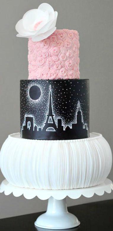Paris Fashion Theme'd Ruffle & Rose Cake