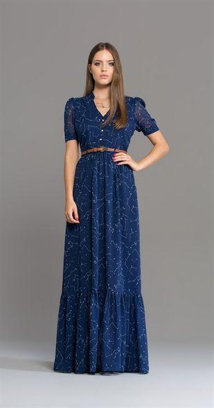 Vestido Longo Asterismo Tecido: Chiffon