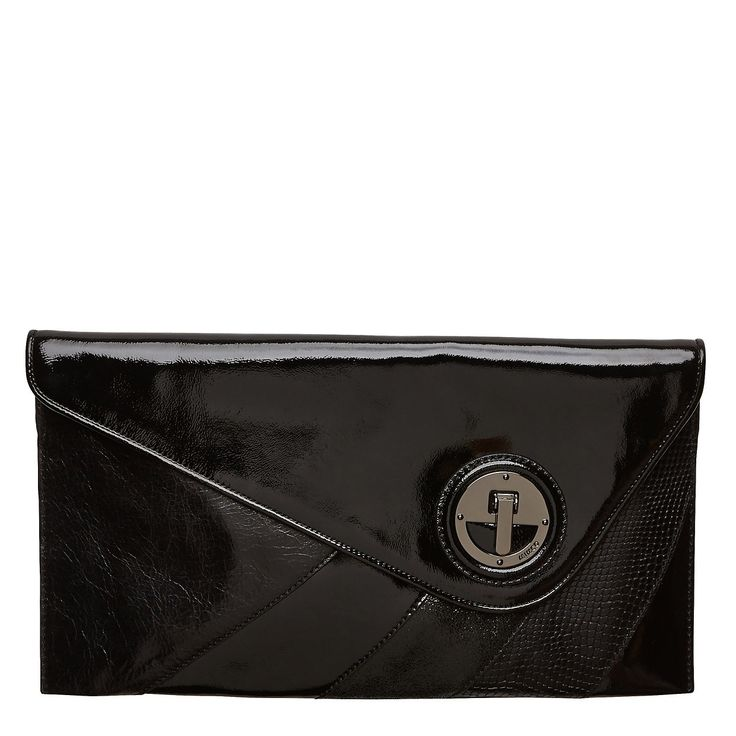 Naughty and splice. Asymmetrical lines and colour spliced leathers form our Sagrada Clutch.