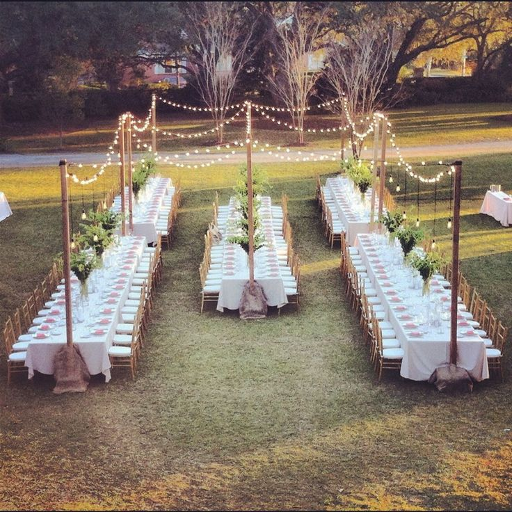 I LOVE THIS. All it is missing is a small stage for my family to perform. But this is exactly how I image the reception. If we are in a garden, this is perfect. With lights above, long tables.