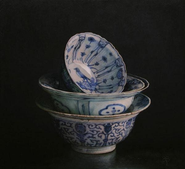'China bowls' - by Erkin | born and raised in Uzbekistan. The painterly tradition of the Netherlands greatly affected his method and subject matter.