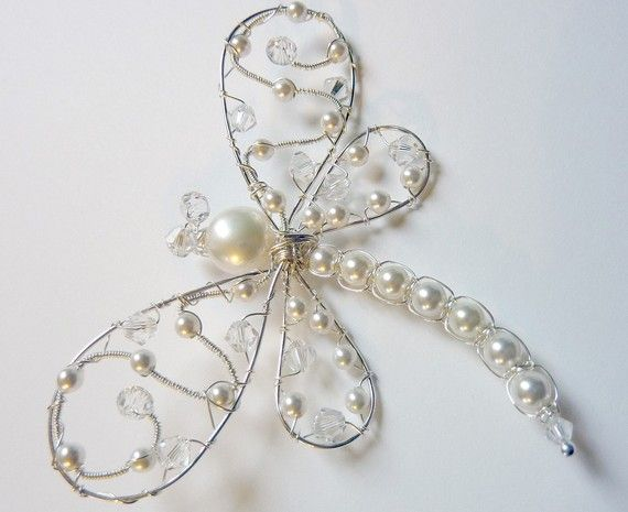White Freshwater and Swarovski Pearl Dragonfly Hairpin, Brooch or Bouquet Decoration, $42