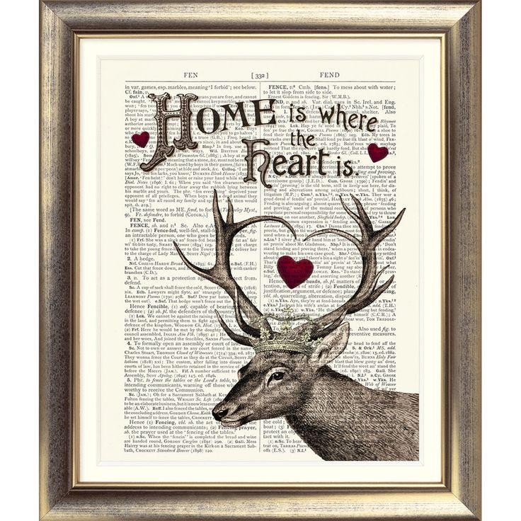 ART PRINT ORIGINAL ANTIQUE BOOK PAGE Dictionary Old Vintage STAG DEER HOME HEART in Home, Furniture & DIY, Home Decor, Wall Hangings   eBay