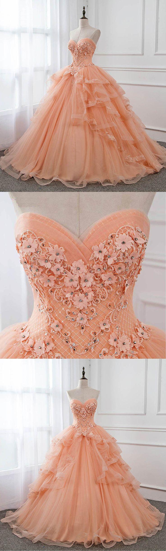 Orange Tüll trägerlosen Rüschen lange süße 16 Prom Kleid, Lace Evening – Sweeth …   – XV