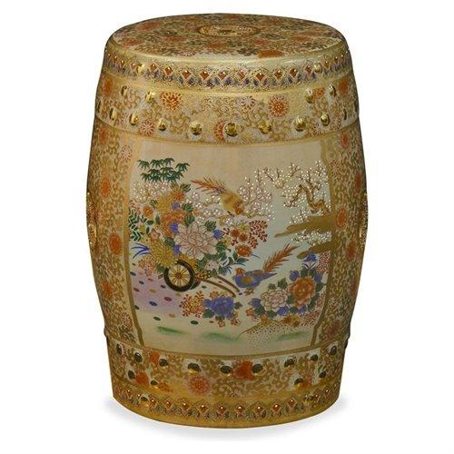 Oriental Satsuma Design Porcelain Garden Stool - Bird & Flower Design