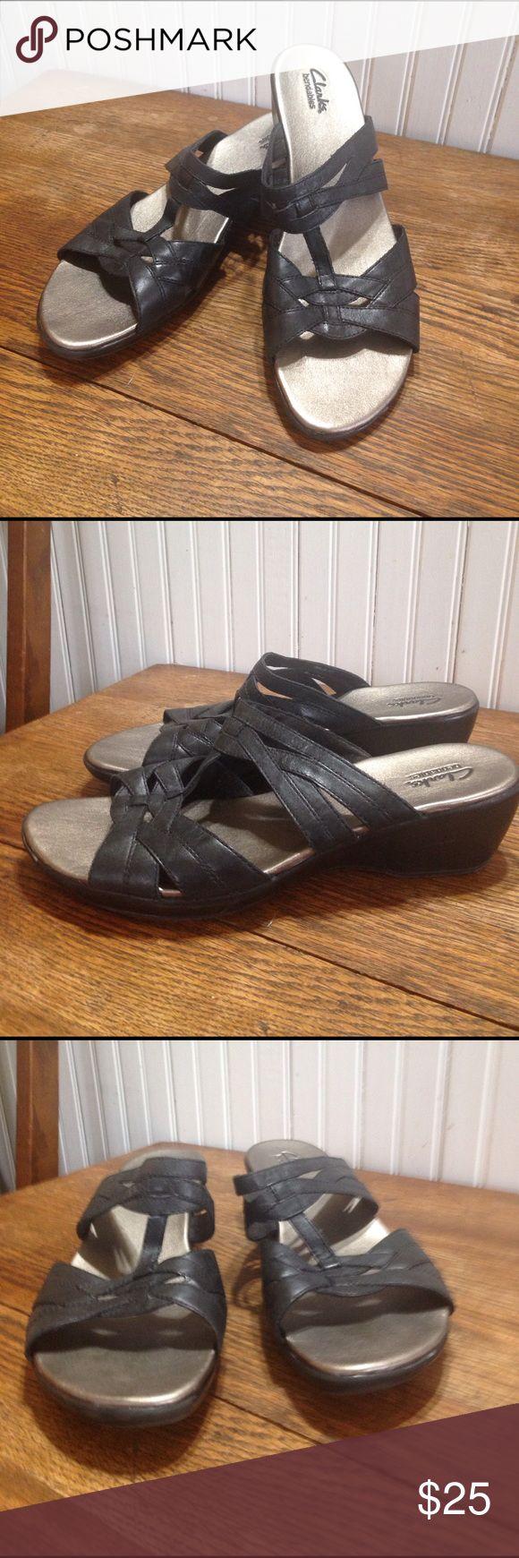 Black sandals size 11 - Clarks Bendables Black Pewter Sandals Size 11