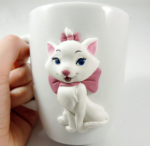 Marie Aristocats mug, polymer clay, cute mug, white kitten, Marie Disney