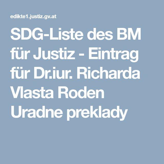 SDG-Liste des BM für Justiz - Eintrag für Dr.iur. Richarda Vlasta Roden Uradne preklady