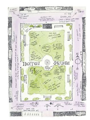 hoxton square by martin usborne | hand-drawn maps of london