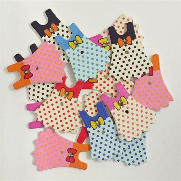 15 Wooden Buttons - Girl Dresses - Mixed