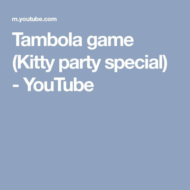 Tambola game (Kitty party special) - YouTube