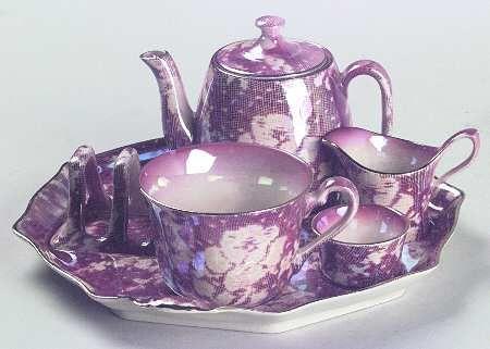 Royal Winton Brocade-Cranberry (Iridescent) 6-piece breakfast set- teapot, tea cup, sugar, creamer, toast rack, plate