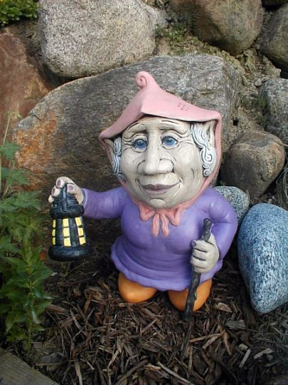 Gnome In Garden: Large Sweet Female Garden Gnome Ceramic Statue Gurdy Matte
