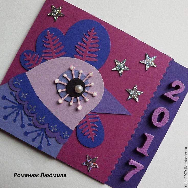 """Купить Новогодняя открытка """"Ко-ко-ко"""" - Открытка ручной работы, романюк людмила"""