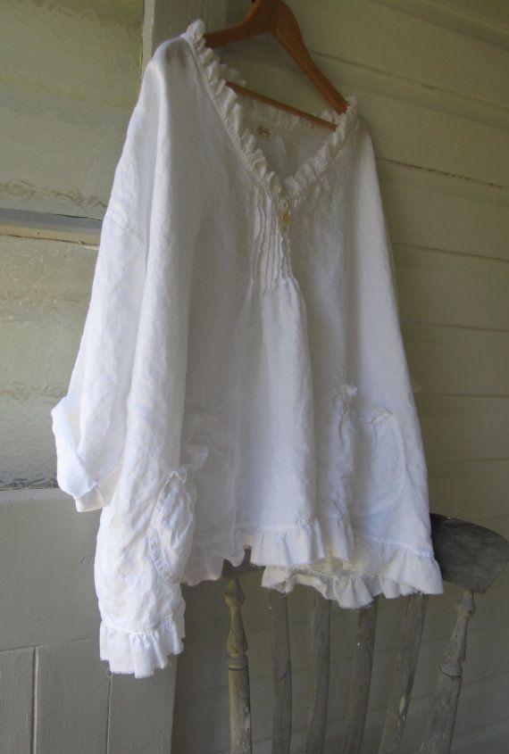 Custom Order for rbarl White Linen Shirt One Size by MegbyDesign