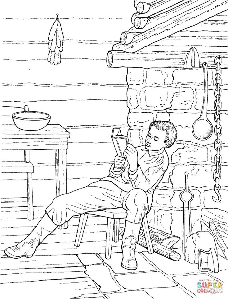 15 boy abe lincoln reading in a log unit studiesamerican girlsprimercoloring pages