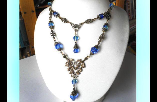 Naszyjnik Ślubny Niebieski Błękit Vintage Floral - Alkaloid - Kolie