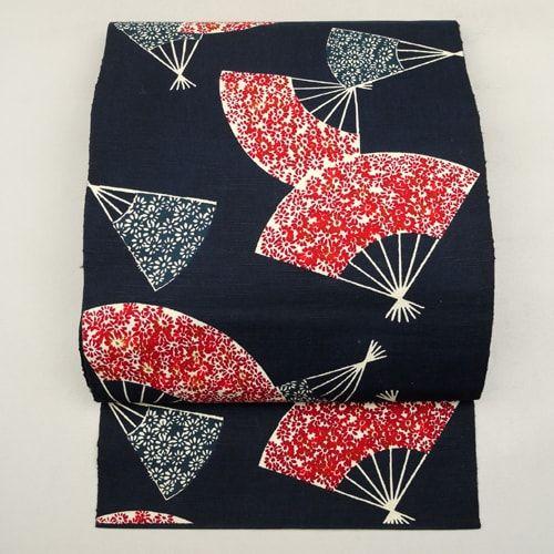Navy, cotton fukuro obi / 藍色地に小花柄の扇を散らした綿紬地の八寸名古屋帯 http://www.rakuten.co.jp/aiyama #Kimono #Japan #aiyamamotoya