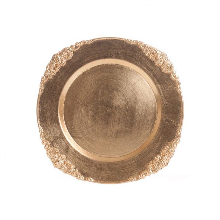 Gold Vintage Charger Plates Bulk 24 Plates 402570 Gold