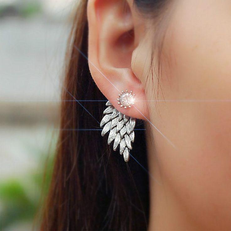 새로운 패션 골드 실버 고딕 쿨 천사 날개 라인 석 합금 스터드 귀걸이 선물 여성의 귀 스터드 파티 보석 귀걸이