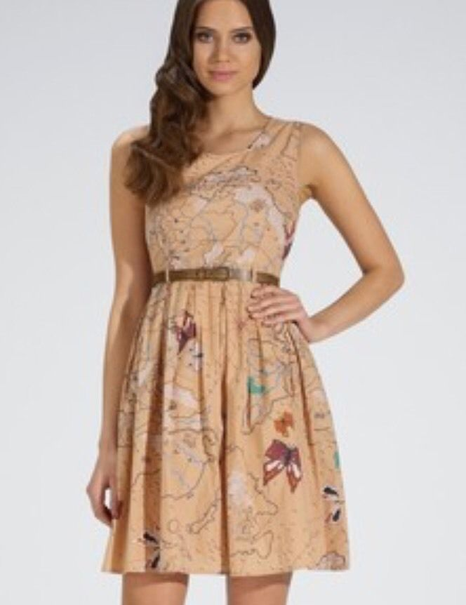 Modcloth  Dress,  Retro Look Travel Map, Butterfly Print Dress by Yumi Small 4 #Yumi #Reto #Casual