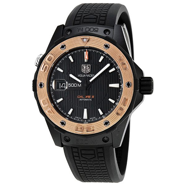 Tag Heuer Aquaracer Automatic Black Dial Rose Gold Bezel Black Titanium Men's Watch WAJ2182.FT6015