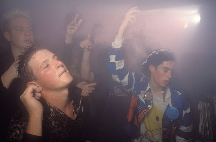 July 1988 Sweaty ravers on the dance floor at Joy Shoom club in London.