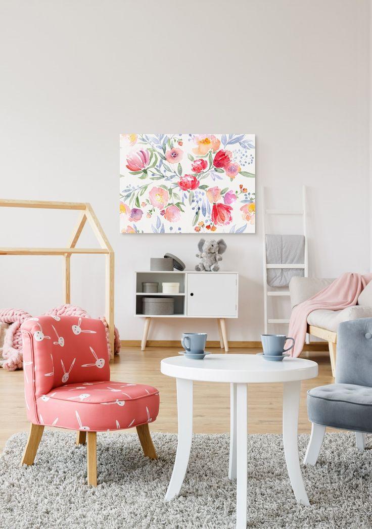 Cuadro decorativocon motivos florales muy románticos ❤ colores pastel, impresión estiloacuarela, un motivo delicado, femenino para decorar tu apartamento, cuadro para dormitorio salón