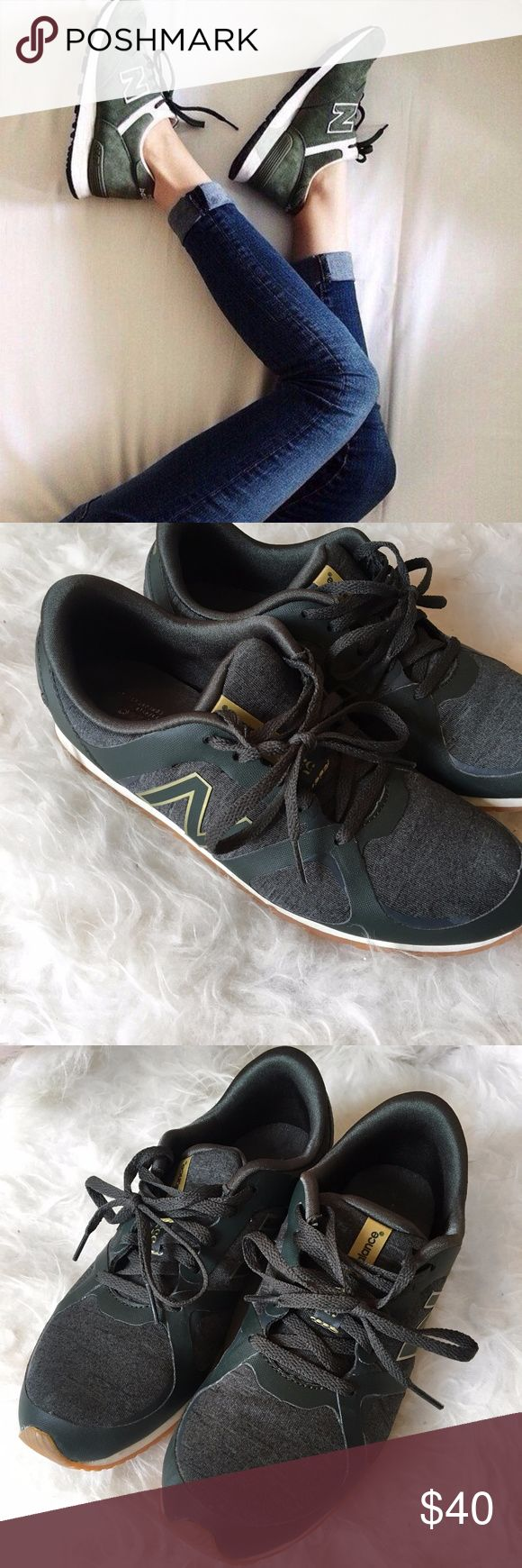 New Balance Hunter Green Sneakers These stylish New Balance hunter green sneakers are in great condition, only worn twice. They're very comfortable and they're a great color for fall! I usually wear a 7.5 and these shoes fir perfectly.  🚭 From a smoke-free home ❌ No trades or off PoshMark sales 🛍 Bundles welcome and encouraged 👌🏻 Reasonable offers welcome ⚡️ Same/next day shipping 🌬 All items are steamed before shipping New Balance Shoes Sneakers