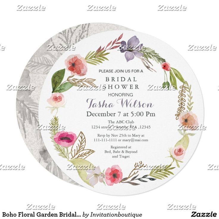 Boho Floral Garden Bridal Shower Invitations Boho chic watercolor floral Garden spring bridal shower invitations