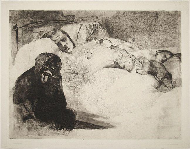 Käthe Kollwitz, Arbeitslosigkeit (Unemployment), etching with aquatint  drypoint, 1909
