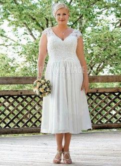Dentelle robe de mariée grande taille chiffon col en v