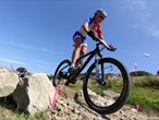 Julie Bresset of France during the Women's Cross-country Mountain Bike race