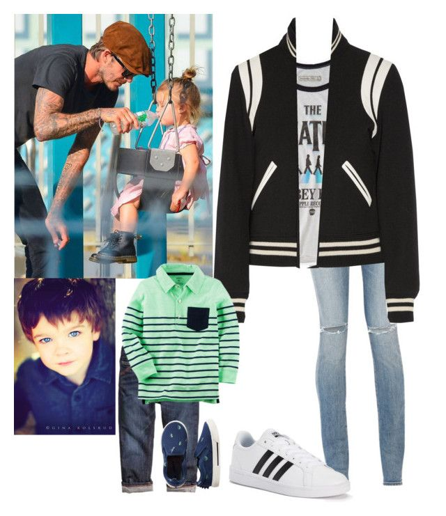 """""""Me Going to the park with my little brother and meeting David & Harper Beckham"""" by j-j-fandoms ❤ liked on Polyvore featuring Yves Saint Laurent, Abercrombie & Fitch, Dr. Martens, adidas and Carter's"""