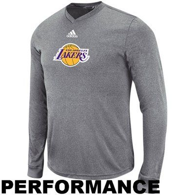 adidas Los Angeles Lakers Pre-Game Performance Long Sleeve T-Shirt - Heathered  Gray